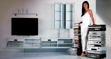 Italian woman standing in front of luxury TV stand