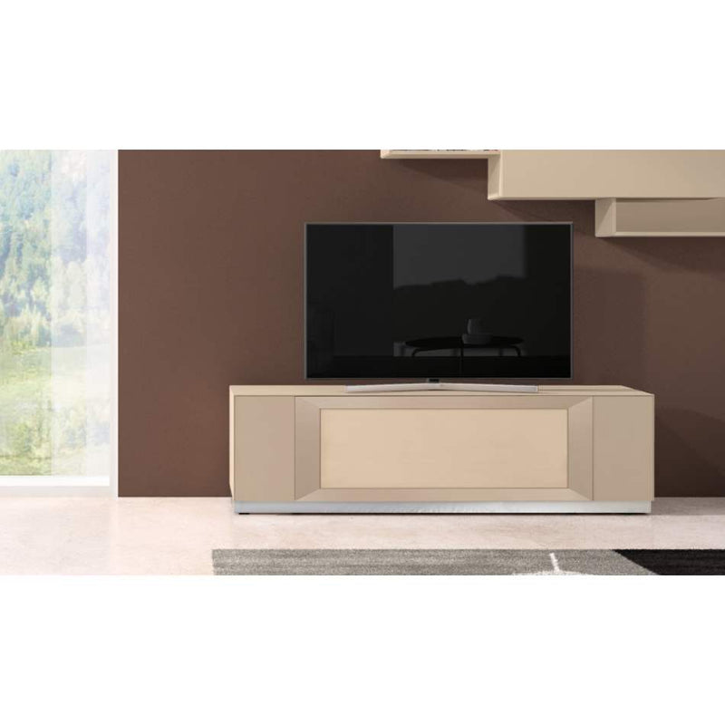 Italian TV stand with TV on top of it