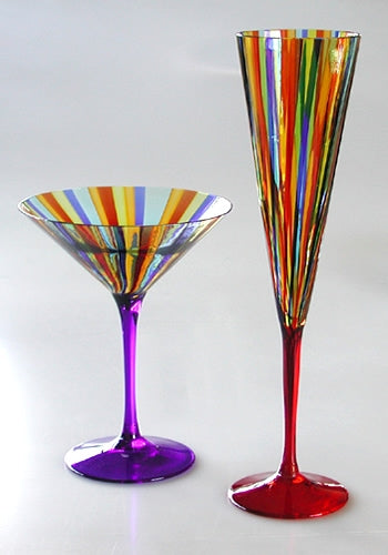 Murano Martini and Champagne Glasses - italydesign.com