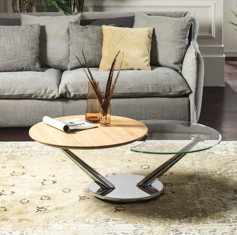 Abra coffee table with wood and glass tops
