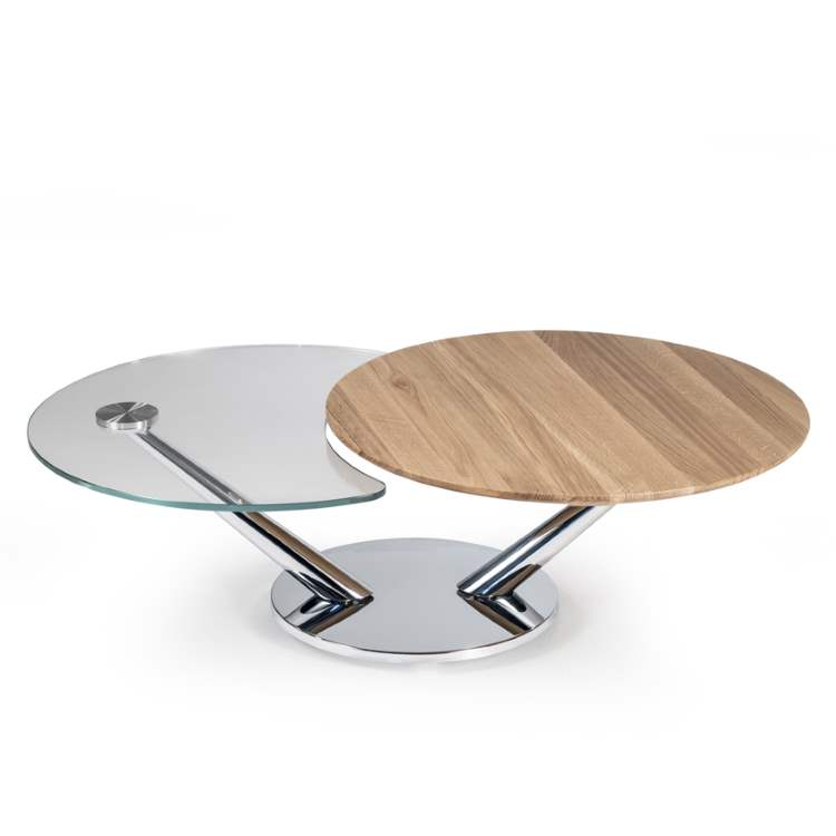 Designer Italian coffee table with wood and glass tops