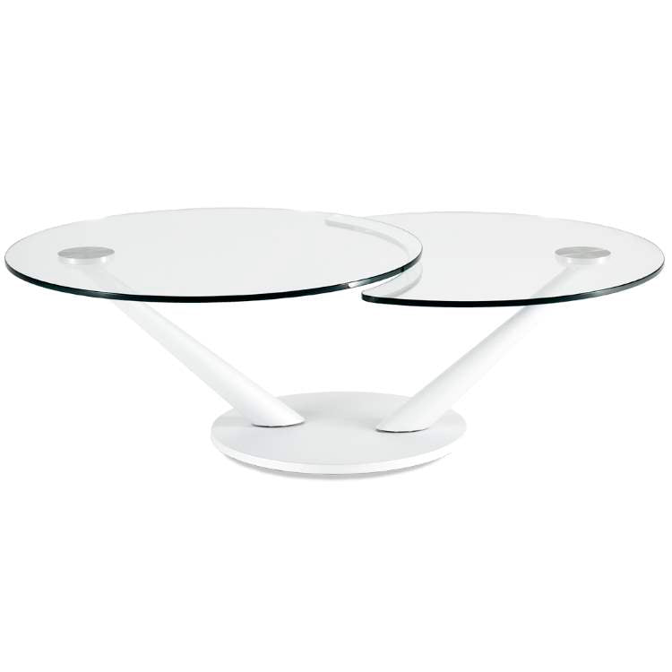 Round glass topped dining table made in Italy