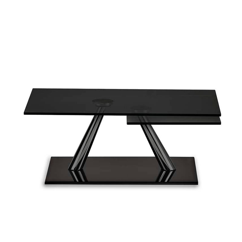 Rectangular expandable coffee table with black glass