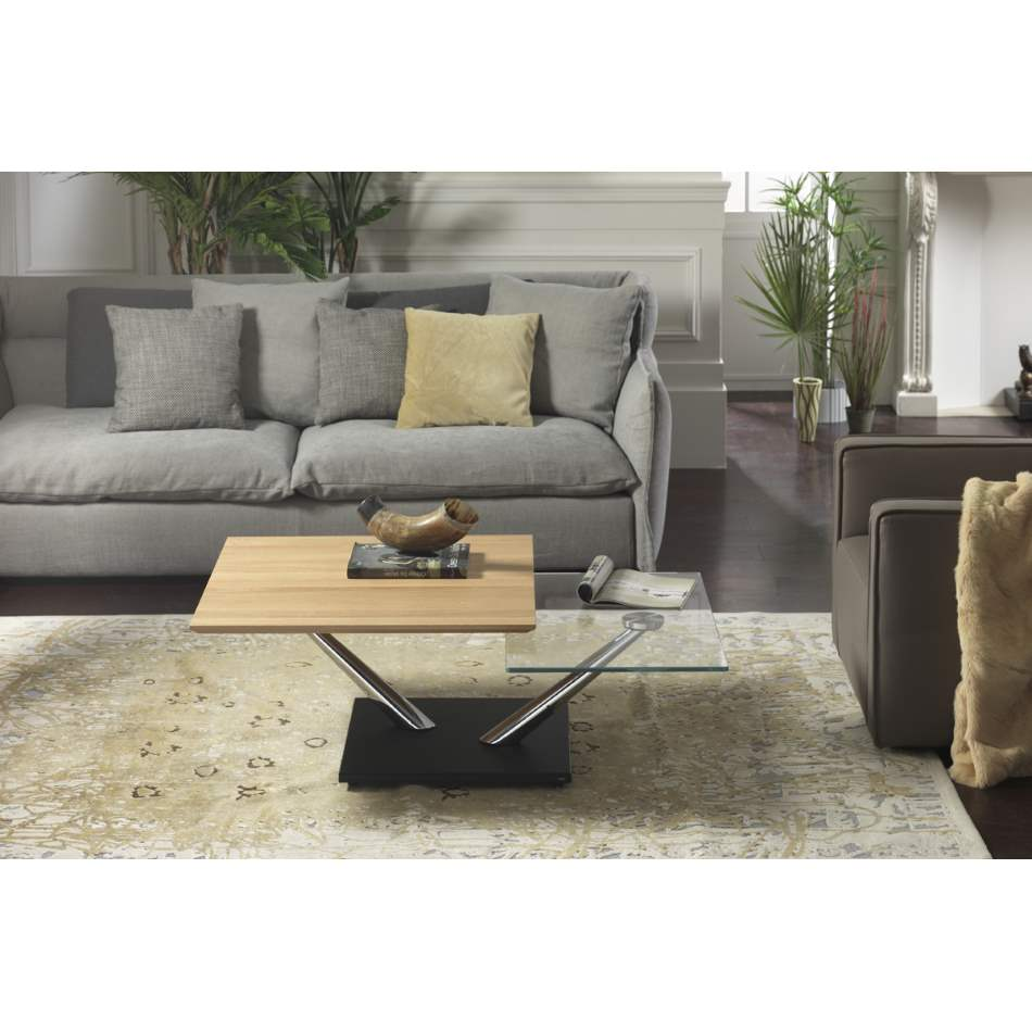 Cassius Coffee Table - coffee table with  2  swiveling  glass  tops made by Naos