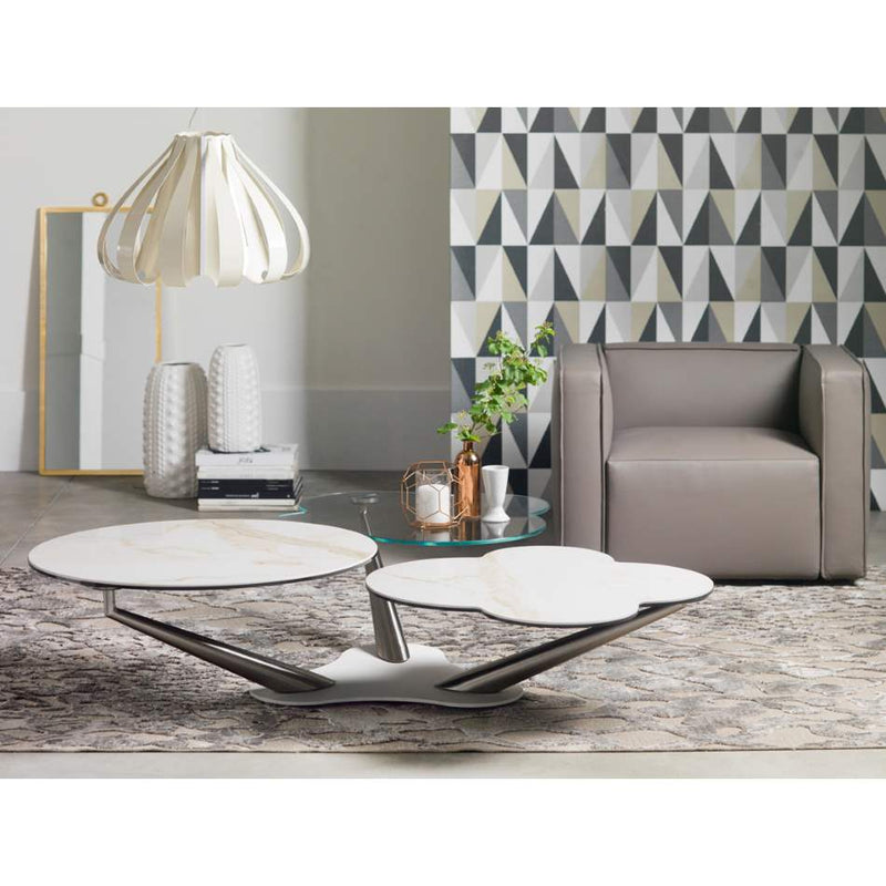 Myflower - modern  coffee table with glass and ceramic tops by Naos made in Italy