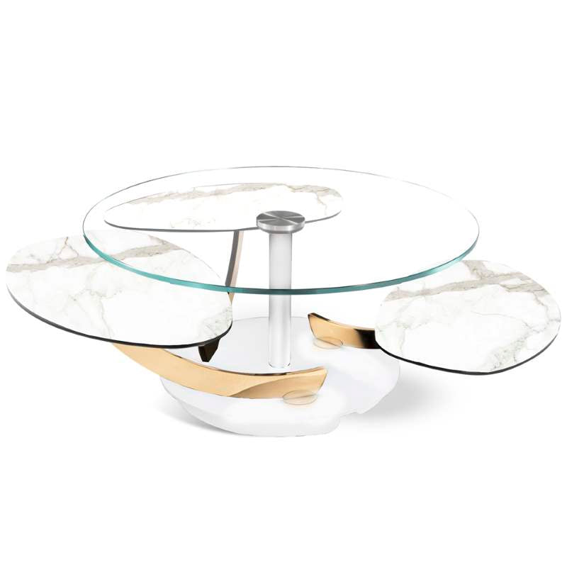 Italian designer coffee table with glass tops