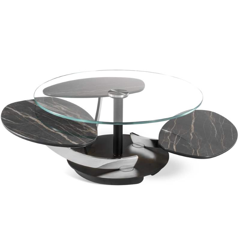 Glass and stone topped coffee table made by NAOS in Italy