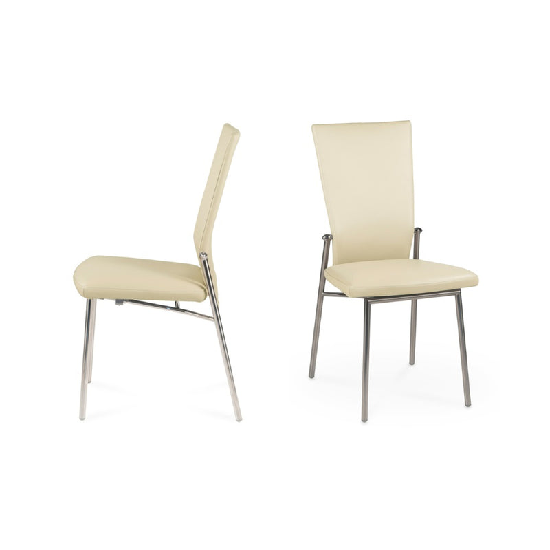 Glisette Side Dining Chair with cream colored material