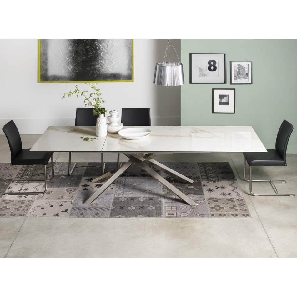 Bookie Satin - Modern expandable dining table with ceramic top by Naos made in Italy