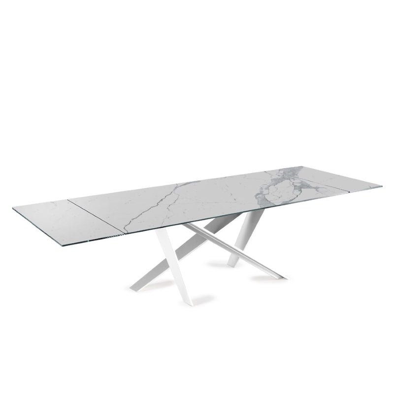 Double - expandable dining table with metal base