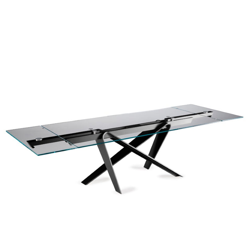Double expandable dining table fully extended