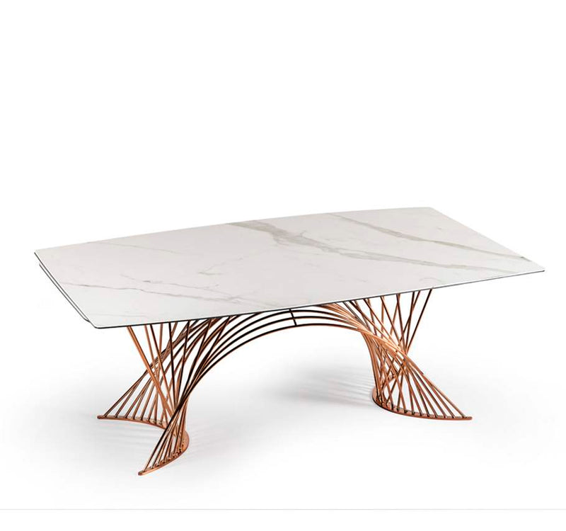 White ceramic topped expandable dining table