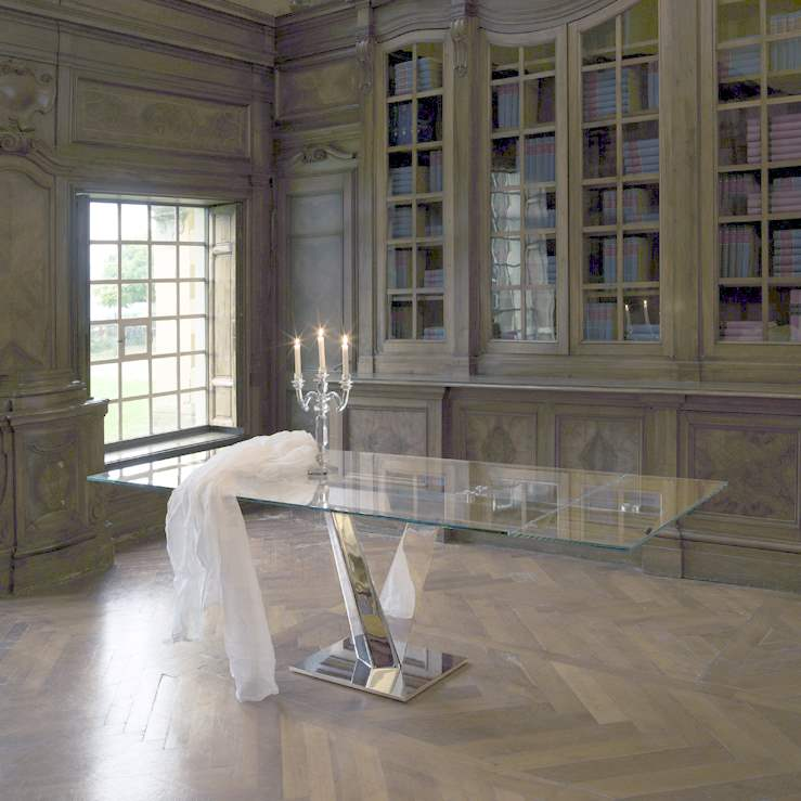 Glass Expandable Table in Family Italian Dining Room