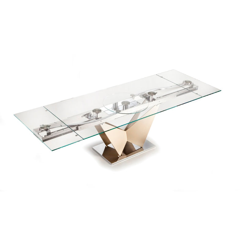 Volare - Modern  expandable glass  dining table made by NAOS in Italy