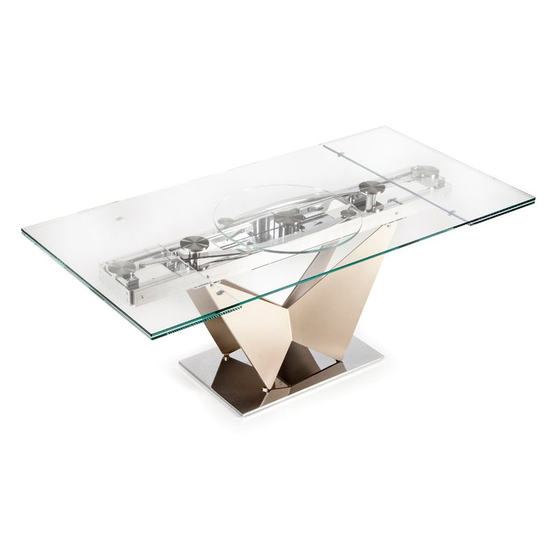 Expandable glass topped dining table in small configuration