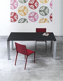 Kristalia Nori Dining Table With Red Chairs