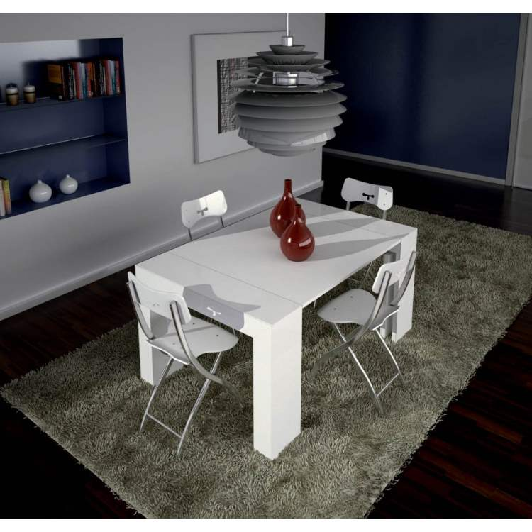 Ozzio Italia expandable dining table in mid-sized configuration
