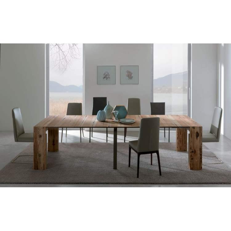 dining room with wooden table made in Italy by Ozzio Italia