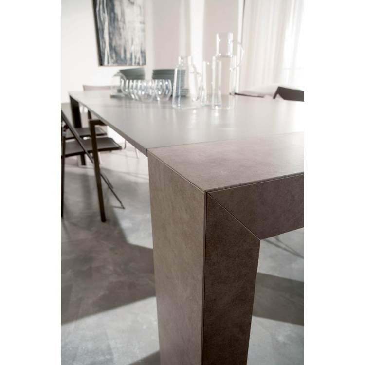 corner view of dining table made in Italy