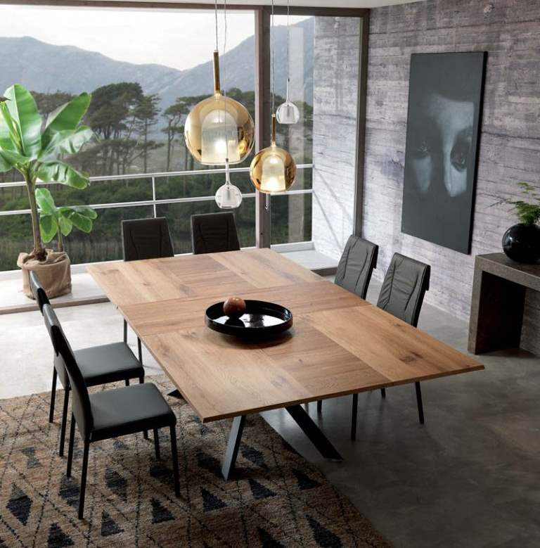 dining room with Ozzio Italia wooden table
