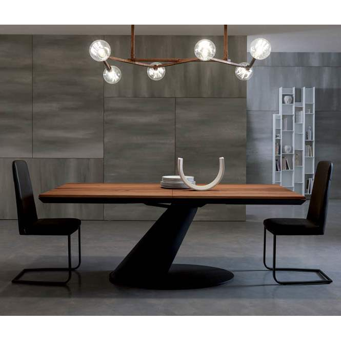 Expandable  dining  table  with  wood top  by Ozzio Italia