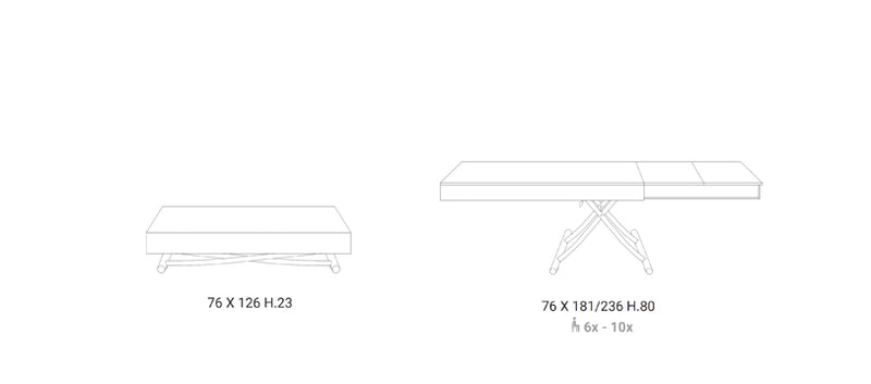 specs on 2 main configurations of Newood dining table