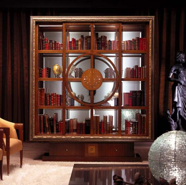 Il Quadro' vitrine - bookcase with golden frame VL12