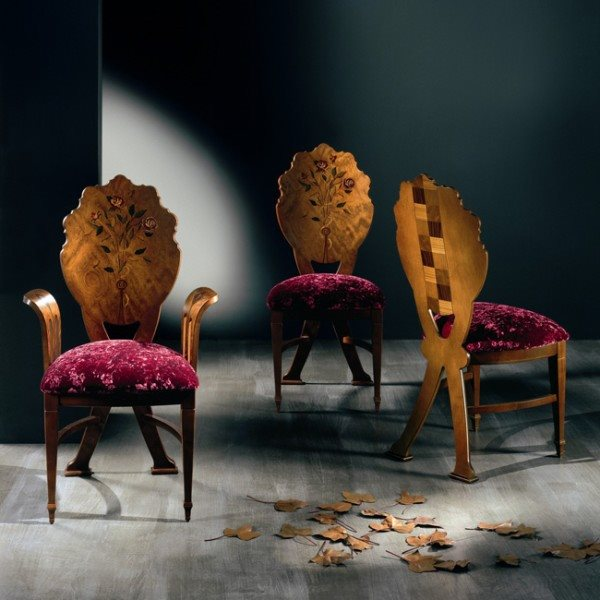 Italian  Luxury  dining chairs by Carpanelli