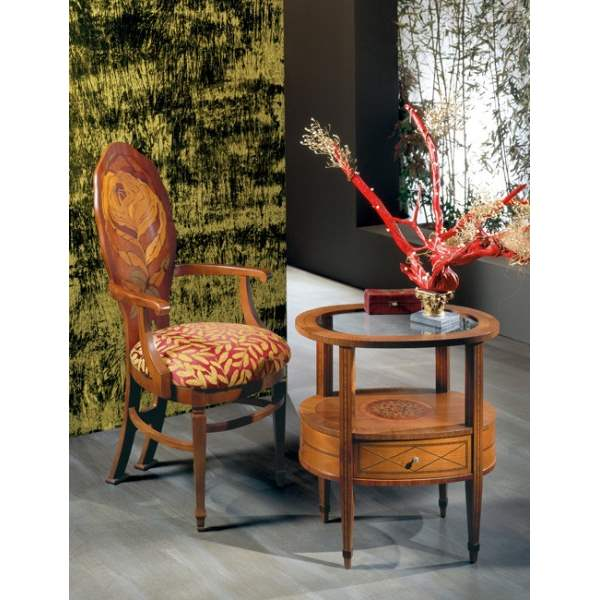 """Rosa"" Armchair SE33 - Luxury  dining chairs with inlaid wood by Carpanelli"