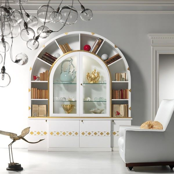 Arco due' cabinet bookcase lacquered version VL26