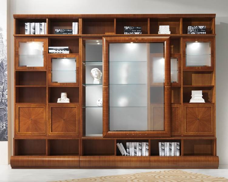 Modular glass cabinet-bookcase VL27