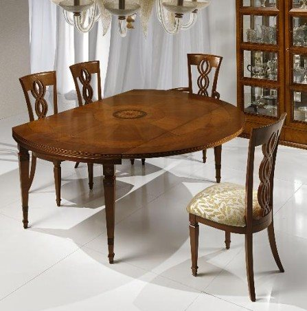 I Capitelli' table with patended extention T492 - Luxury round expandable wood dining table