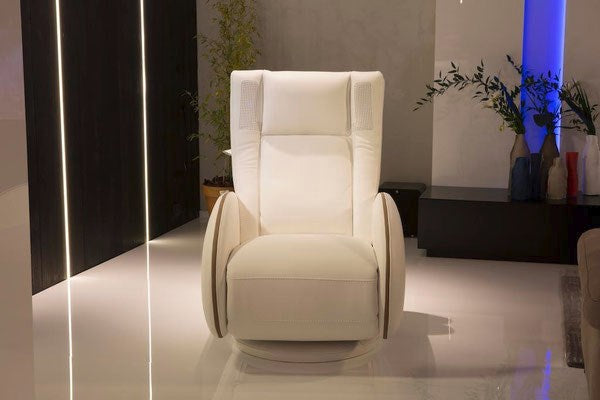 Italian made reclining tan leather chair
