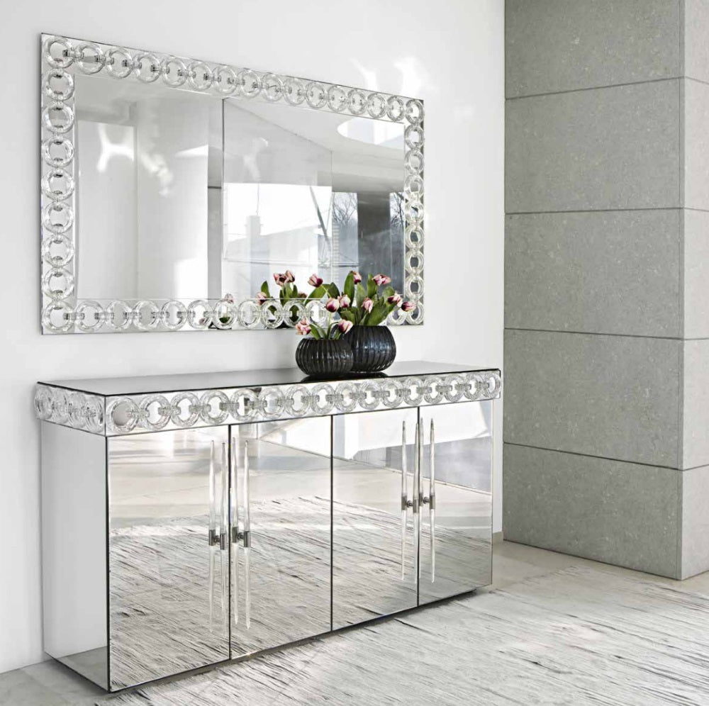 Casanova Buffet - Luxury buffet of mirrored glass made in Italy by  Reflex
