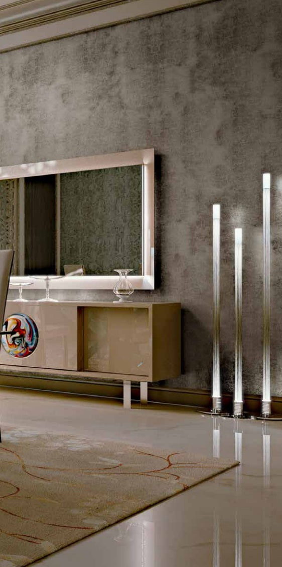 Italian luxury buffet with center Murano glass piece by Reflex