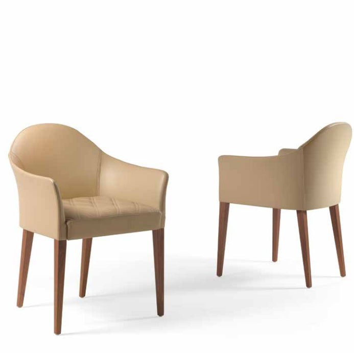 Tan leather luxury dining chairs