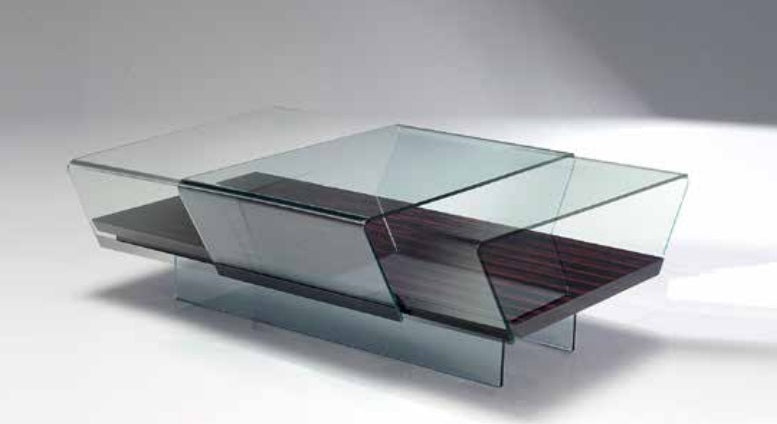 Slide - Luxury coffee table with wooden base and sliding  glass top by Reflex