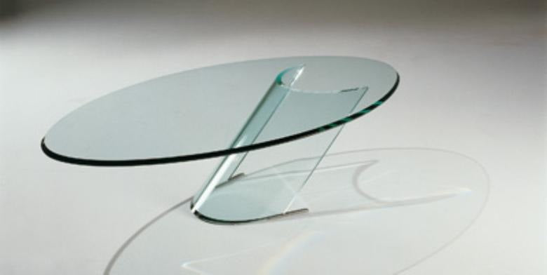 Tau 40 - Luxury coffee table made from clear glass in Italy by Reflex