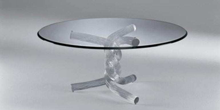 Torsades 40 - glass topped coffee table with twisted glass base made in Italy