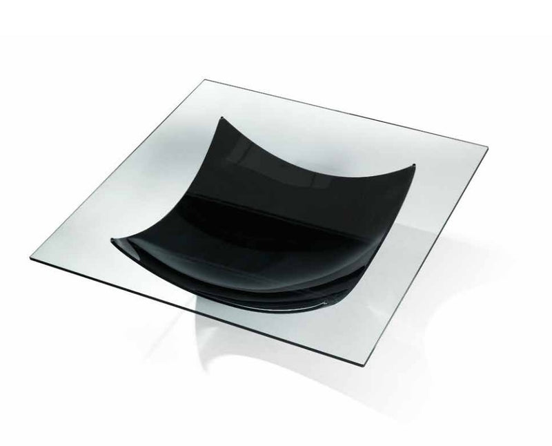 Vela 40 - luxury coffee table with glass top and black base
