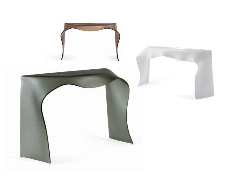 Foulard Console - in clear glass, green glass and tan glass