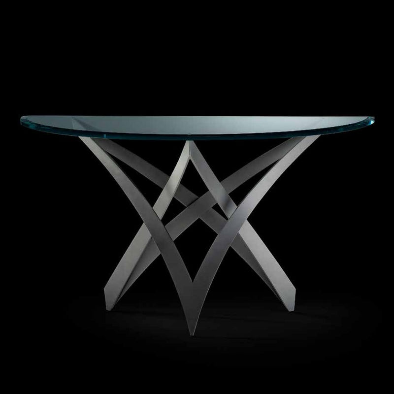 Infinito Console - Luxury console with glass  top and metal base by Reflex