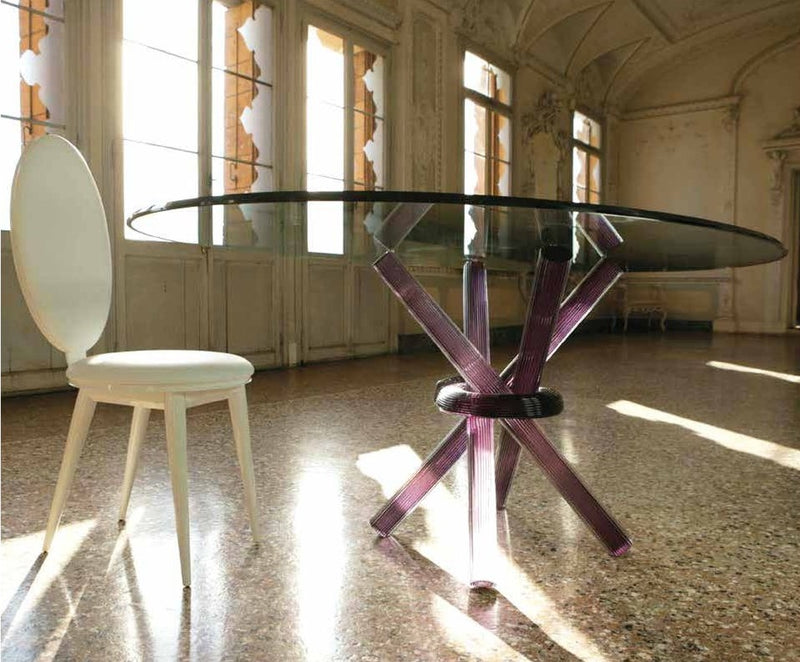 Arlequin 72 luxury dining table with purple base made in Italy by Reflex