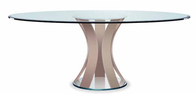 Italian dining table with tan glass legs