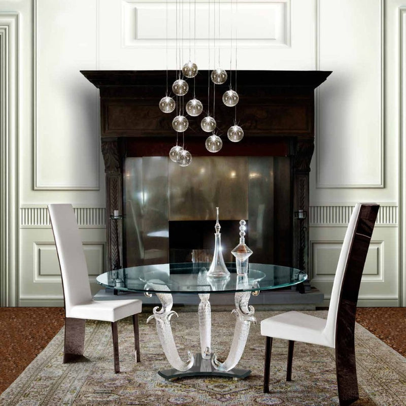 Italian dining room full of luxury furniture and fireplace