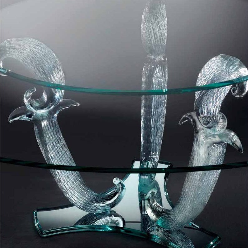 Casanova 72 - close view of Italian dining table's hand-blow glass base