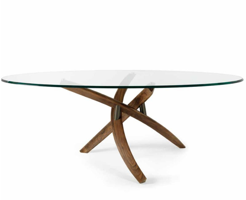 Fili D' Erba 72 Legno - Glass dining  table solid walnunt base  Reflex