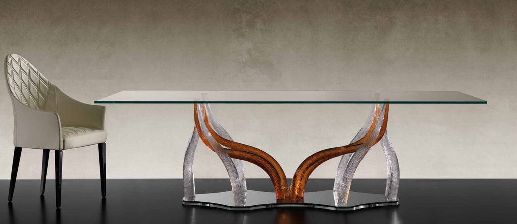Flambe 72 - Dining table with glass top and Murano glass base by Reflex