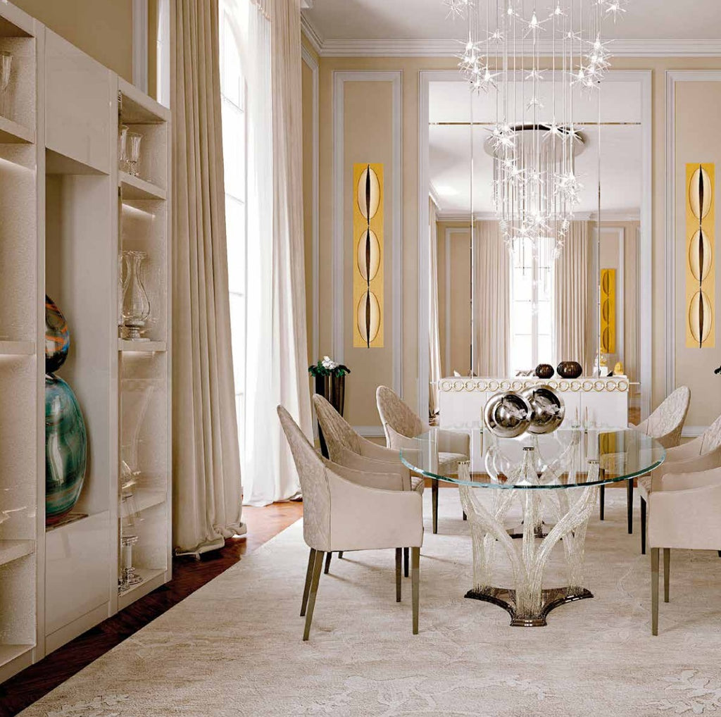 Upscale Italian dining room full of luxury furniture