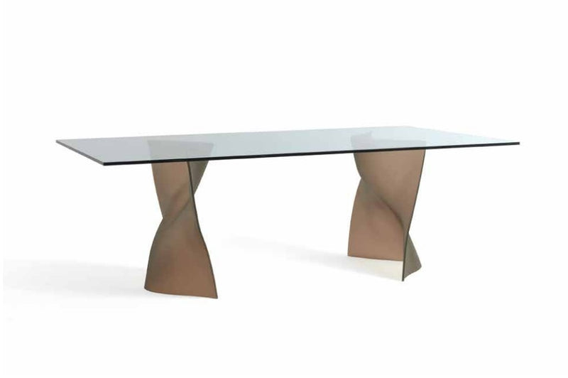 Gaudi 72 - Luxury Dining table with glass top and glass base by  Reflex